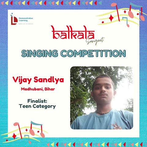 2) On @DemonstrativeLE  finalists for the Balkala Sangeet: Singing Competition 🎶  May listen to contestants & choose the best one (according to you) from given categories.  The deadline to cast your vote is Thursday afternoon i.e.22nd Sept @IVFoundation  @SainaRBharucha https://t.co/WuNDVktn2T