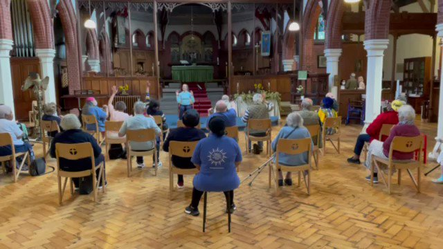 Fabulous, St Michael's!  There are chair exercises (plus Hymns We Love, prayers and more) on the free Daily Hope phone line: 0800 804 8044