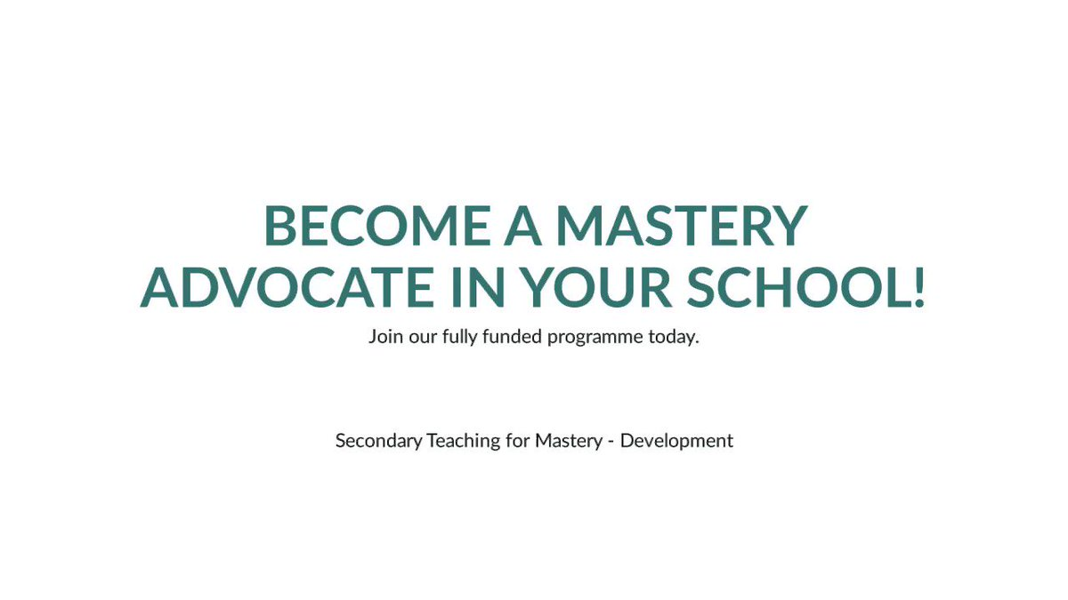 Heard about teaching for mastery? Interested in high quality professional development? ✍️ 🌟Join our secondary mastery journey today! This fully funded programme is not one to be missed!  🔗More information including how to apply can be found by visiting https://t.co/5AsbgtoUhs