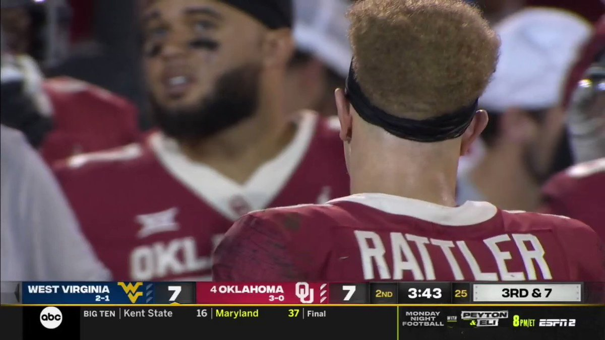 """""""We want Caleb"""" chants have begun in Norman after a Spencer Rattler INT…..yikes"""