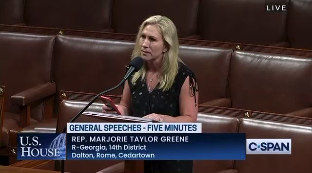 """Marjorie Taylor Greene complains about being told she can't motion to adjourn before the prayer and pledge.  """"We should make a motion to adjourn because Congress should stop."""""""