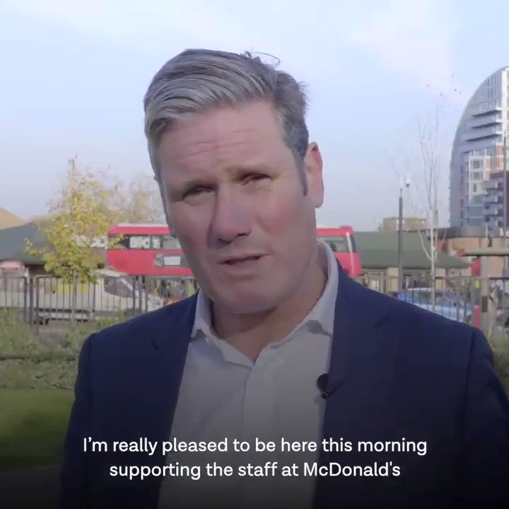 'I'm really pleased to be here this morning supporting the staff at McDonald's, and they're not asking for the Earth, they're asking for the basics - £15 an hour'