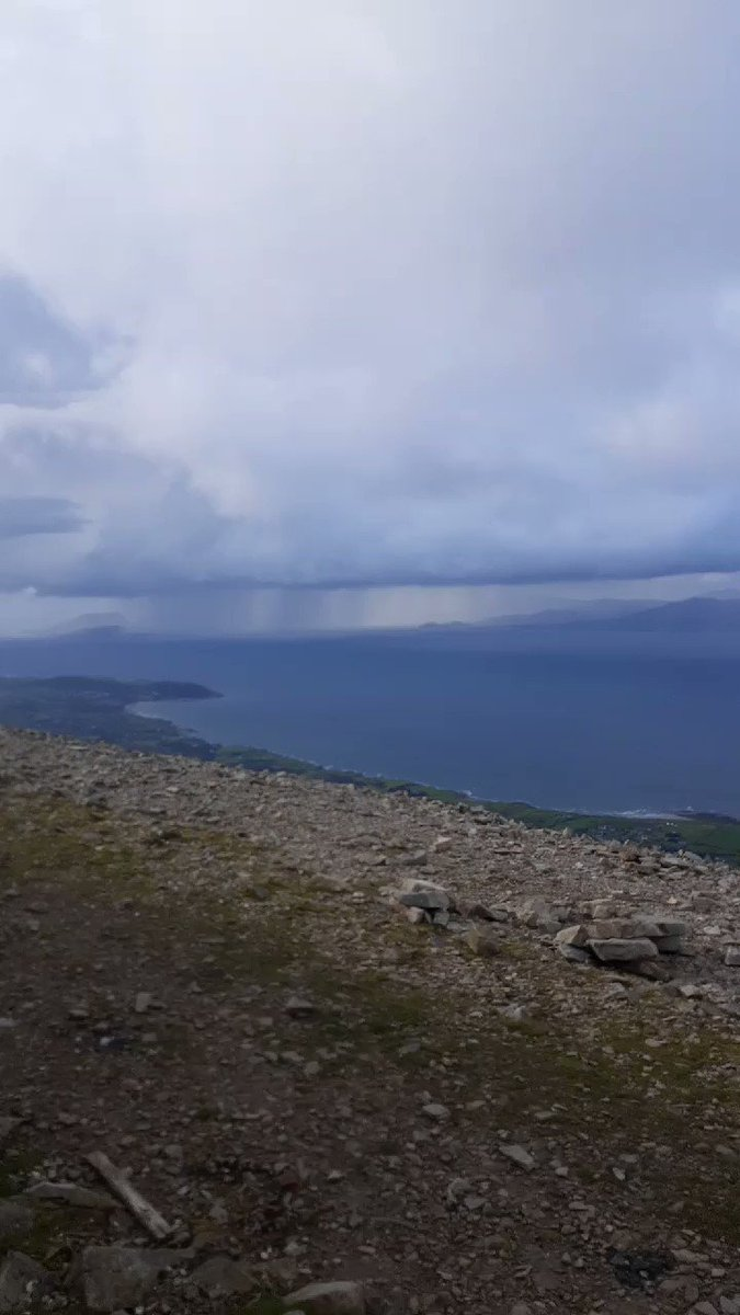 Avoided the rain on the way up but got soaked coming down. Great to get the views in though. #croaghpatrick