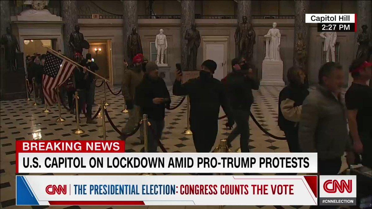 Image for the Tweet beginning: CNN's reaction as people walk