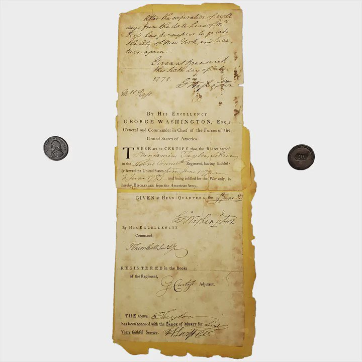 Mr. @JoelBohy has some cool #GeorgeWashington memorabilia this #MilitaryMonday, including a signed #AmericanArmy discharge paper from 1783! #USA #UShistory