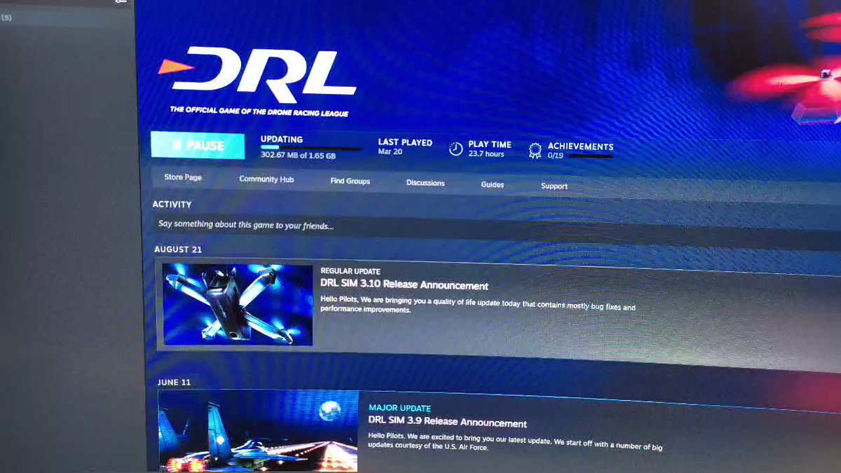 Updating #DRL Sim on Steam. But 3 months back, swapped my RX5700XT for this RX470 4GB. Wonder if this GPU can still cut it? @DroneRaceLeague https://t.co/xoEiPqgjvb.