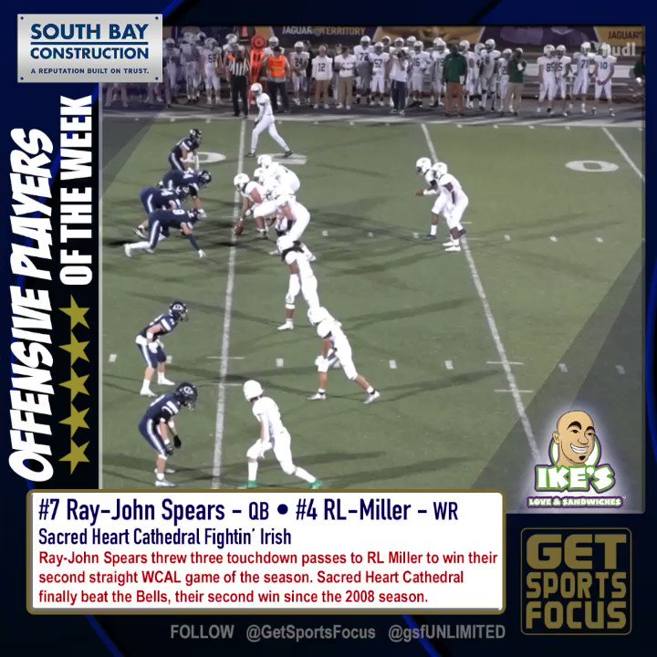 #doubletrouble combo GSF @SHCathletics Ray John Spears threw three touchdown passes to RL Miller to win their second straight @WCALSports game of the season. SHC finally beat the Bells, their second win since the 2008 season. Miller and Spears will be getting the @ikessandwiches