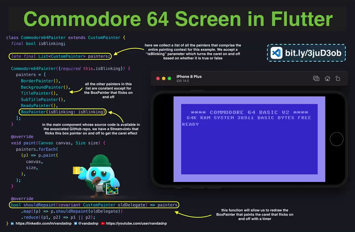 #Commodore #64 was my first #personal #computer and today I enjoyed every second of remaking its startup screen in #Flutter 🤩 Check out the code. Here I'll show you how to use #CustomPainter and #custom #fonts in Flutter.  github.com/vandadnp/flutt…  #dartlang #tipoftheday #tips