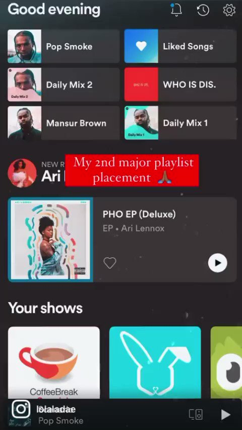 Just added to my second biggest playlist yall! 🙏🏾🙏🏾🙏🏾  Link In Bio   @spotify been showing me so much love!! Shoutout to @soundsdeli !   Make sure you all go like, vibe and add the playlist 🎧   #lolaladae #inthekitchen #barackobama #barackobamaplaylist #newmusic #atlartists