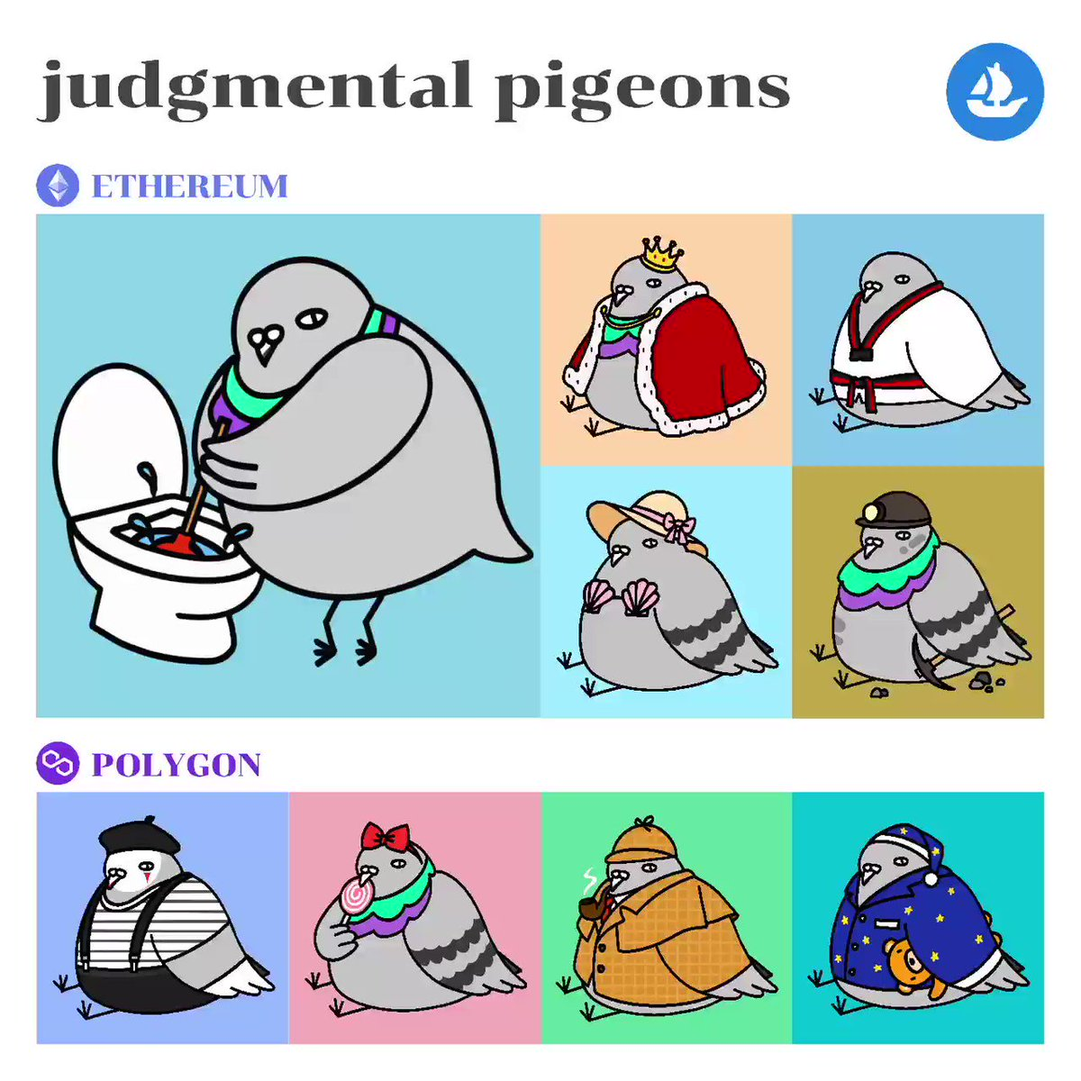 ⭐️ JUDGMENTAL PIGEONS ⭐️  🔹 0.005 - 0.02 👉 opensea.io/collection/jud… 📢 More pigeons available in the collection ✍️#pigeonsprocess for drawing processes  #nftart #nftthailand #nftthaiartists #nftcommunity #nftmarket #nftcollector #nft #nftdrop #OpenSeaNFT #PolygonNFT
