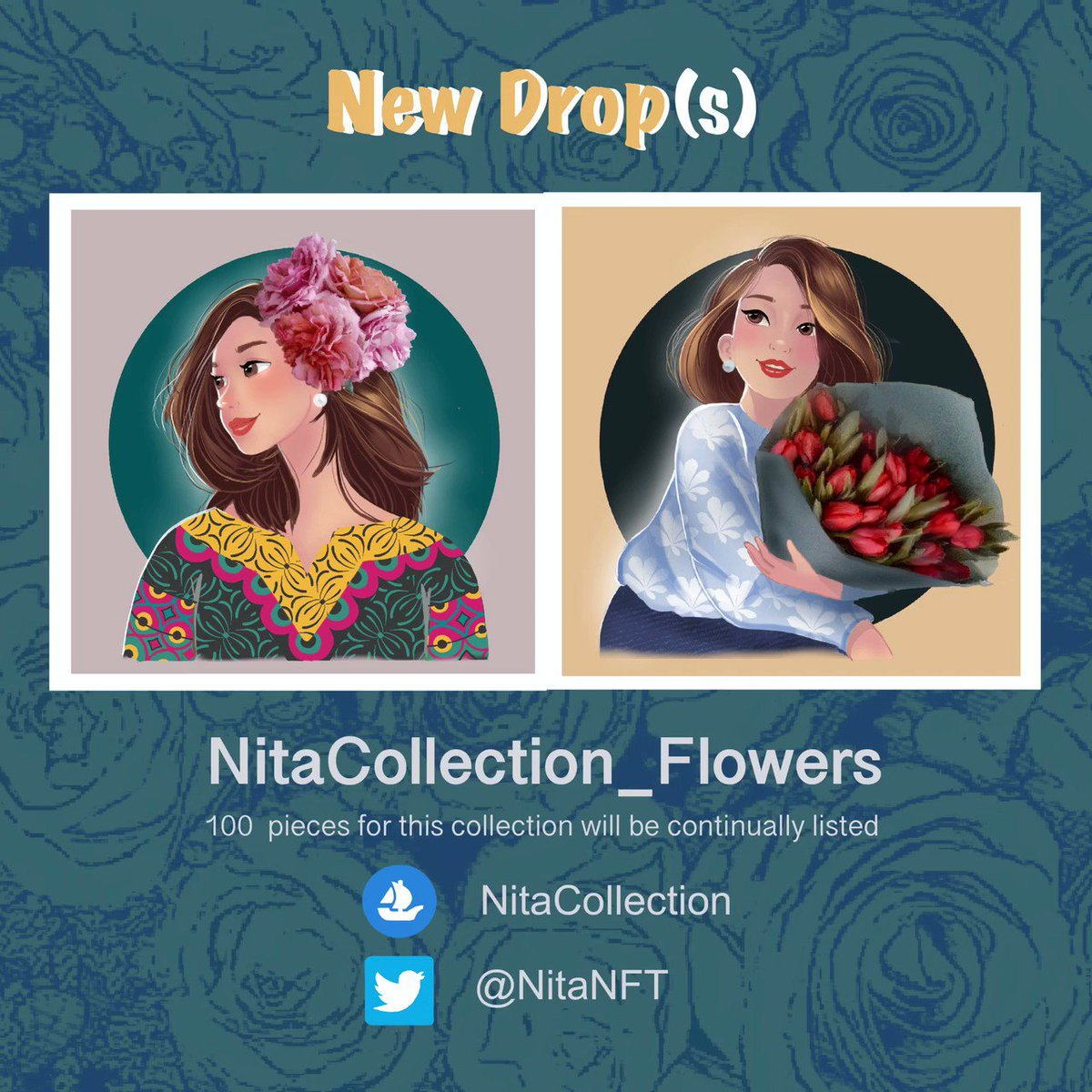 NitaCollection_Flowers is inspired by the desire to capture beautiful flowers in memory through adorable characters.  Come find your favorite flowers and characters  opensea.io/NitaCollection  #nftcommunity #nftshill #nftthailand #nftcollectible #opensea#openseanft