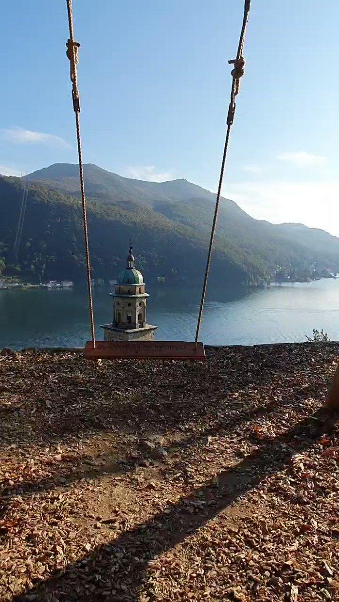 Swing with view Morcote Switzerland 🇨🇭🌞❤ #Switzerland #Travel #travelbloggers #beautiful #Town
