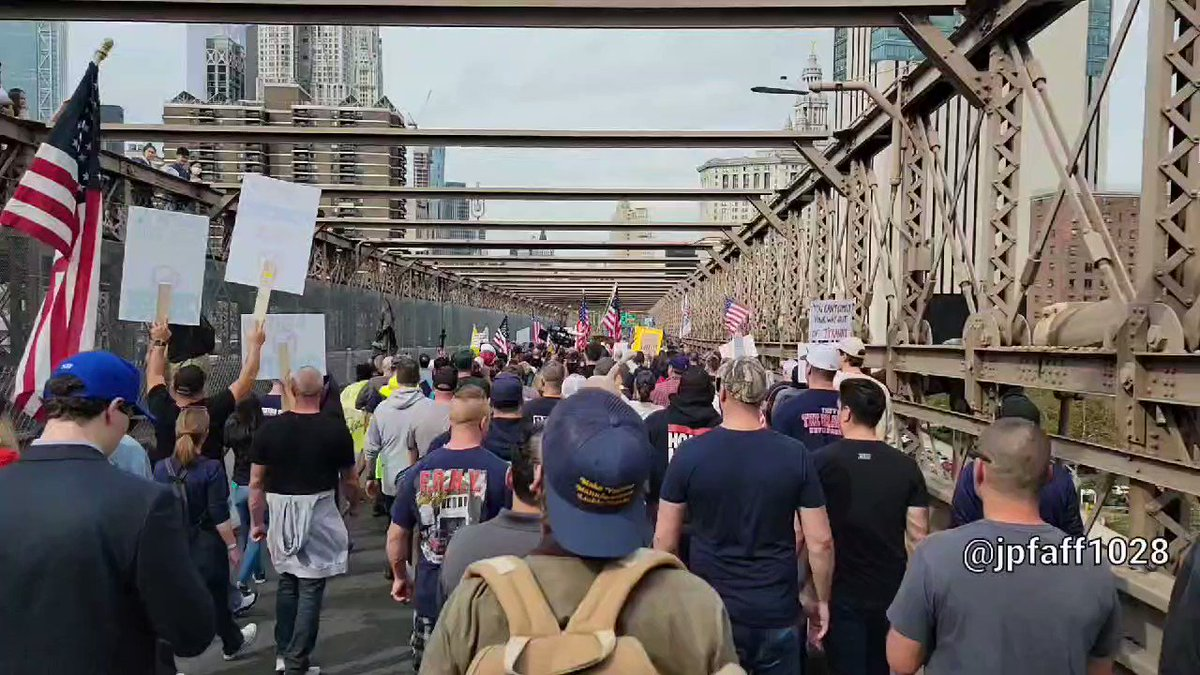 The NYPD and other municipal workers just blocked traffic on the Brooklyn bridge, not to protest murders, but to protest vaccine mandates.
