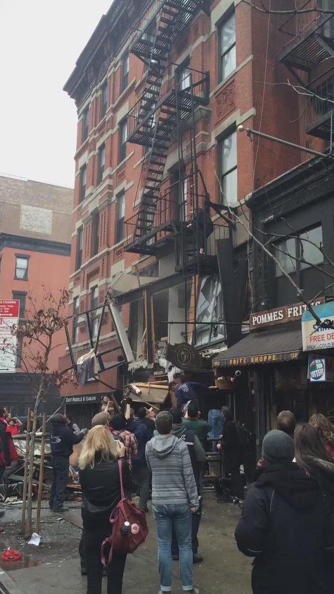 Explosion and fire destroy building in Manhattan's East Village, injuring 12