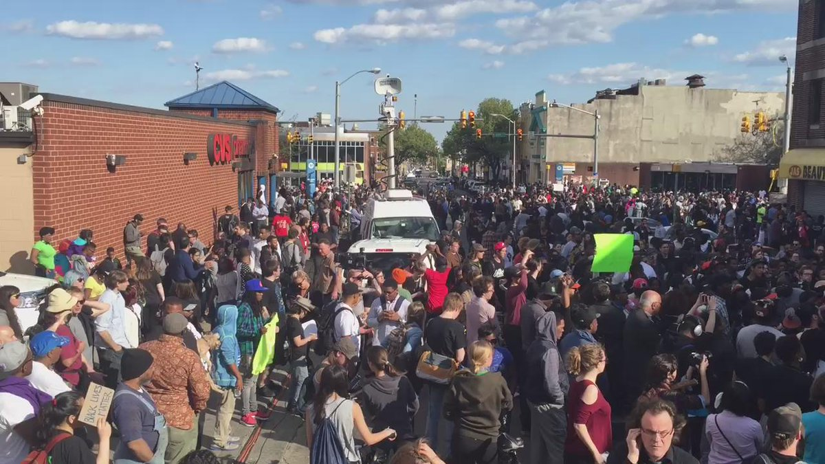 """Crowd chants """"Black Lives Matter"""" in Baltimore right now http://t.co/KIUmhX9NSN"""
