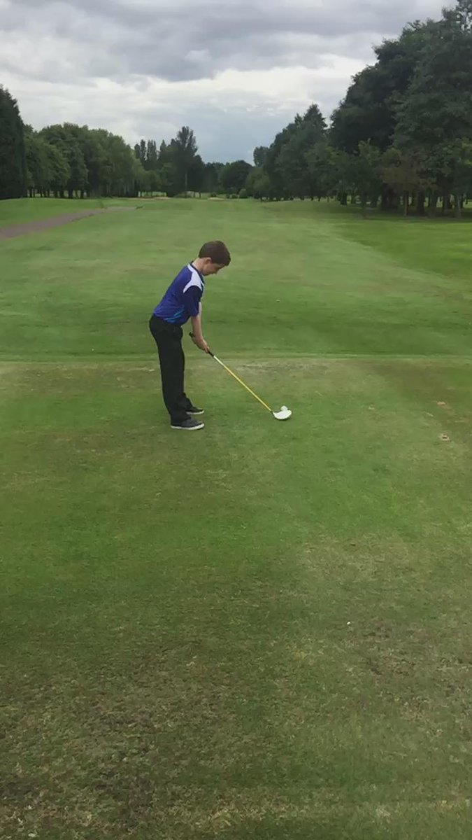 My son showing me and @Tommynew92 how to play golf @WithingtonGC #golf
