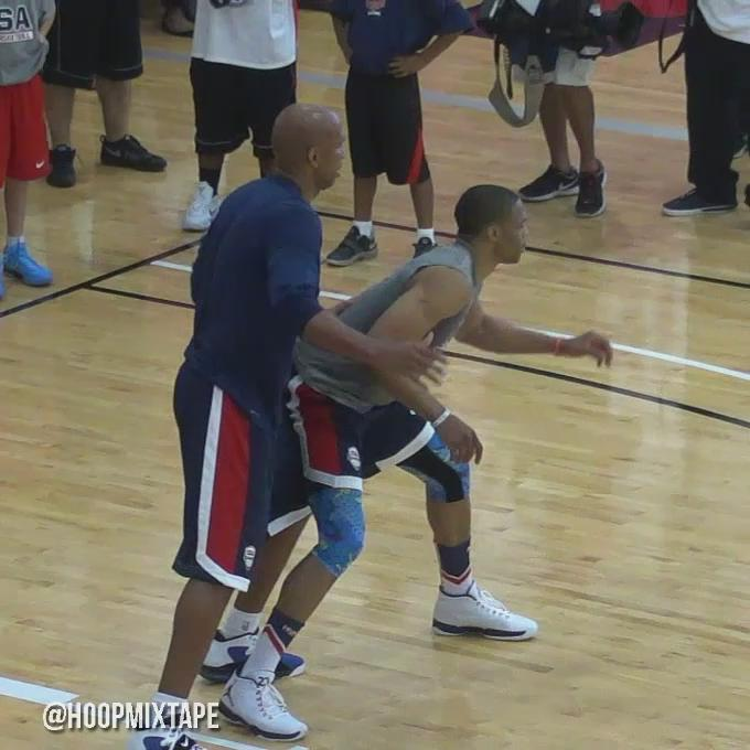 LeBron and Melo couldn't stop laughing when Russell Westbrook messed up a drill