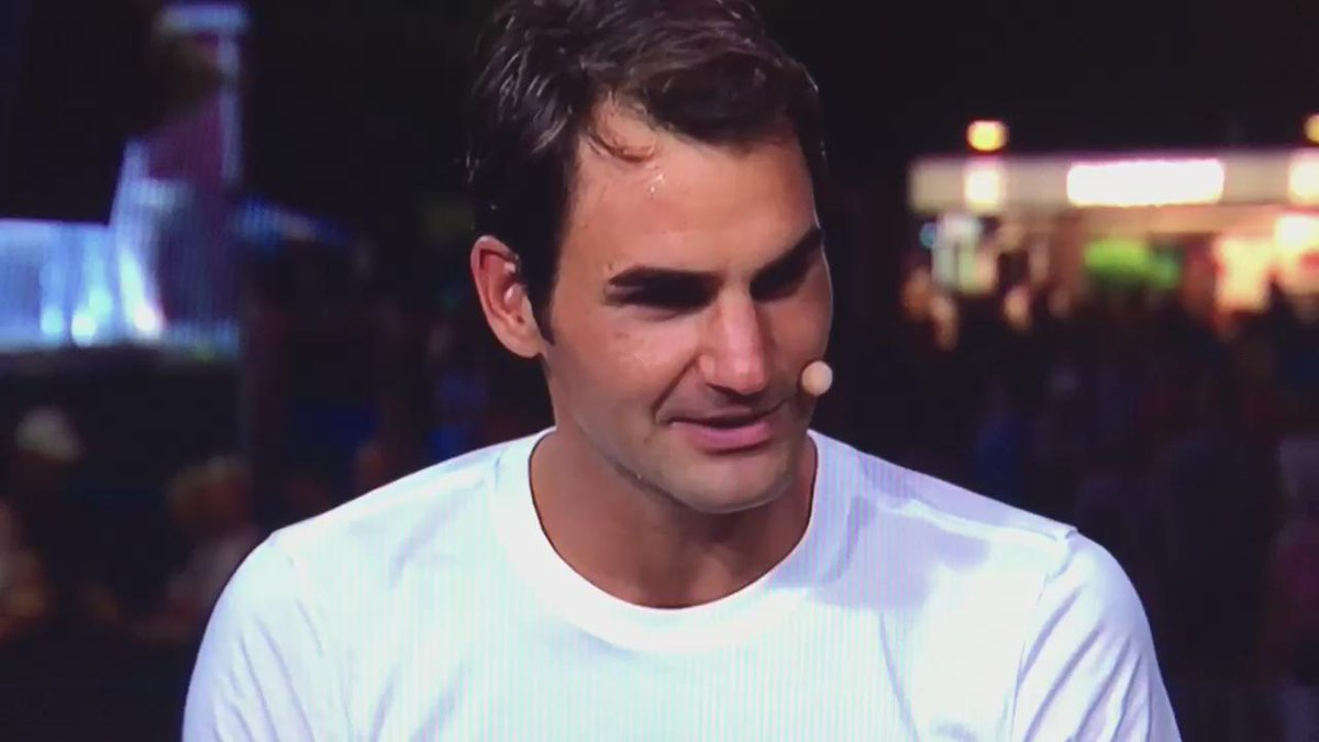 One of the best @rogerfederer off-court moments ever. #USOpen @ESPNTennis @Tennis @NeverlandBway http://t.co/4HUuZbD239