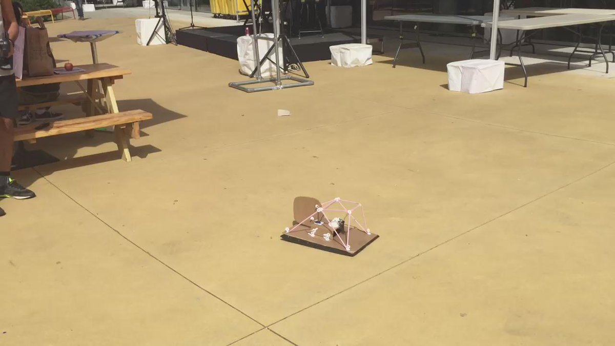 Unfortunately we have to wait until next year for @makestrawbees #hovercraft made from straws, garbage bag, cardboard http://t.co/NaMeoG8Wad
