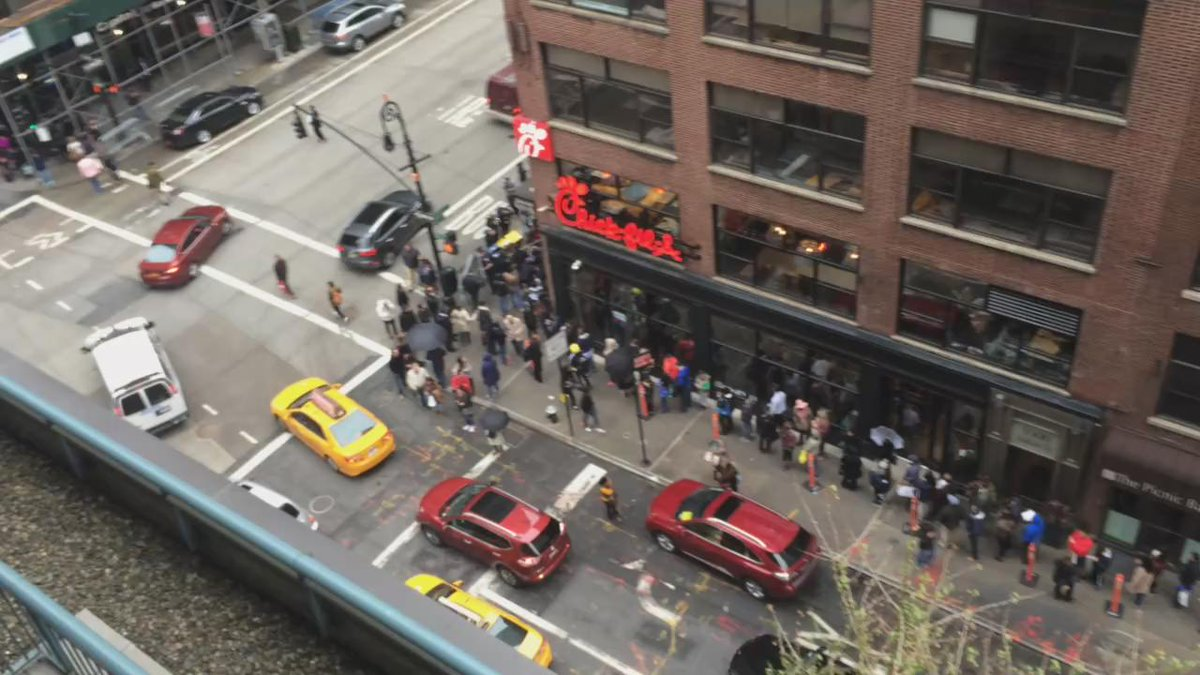 In NYC. There are 80,000 restaurants here. ...and this is the line for @ChickfilA. http://t.co/DKD89lii3W