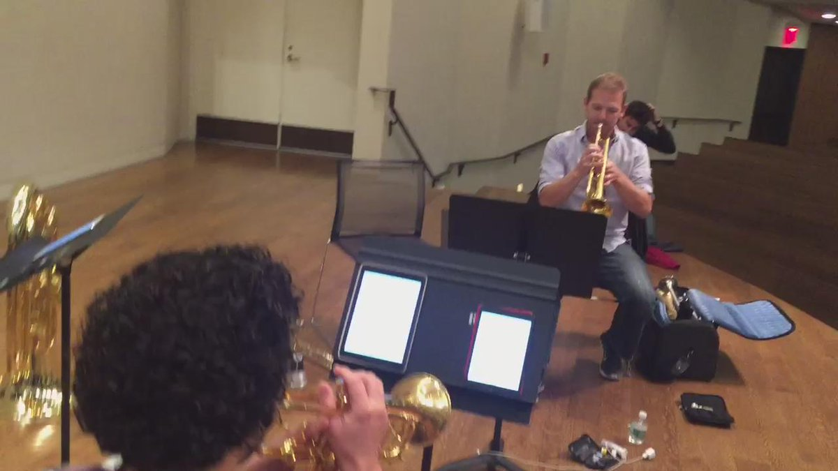 Trumpet rehearsal with Chris and Caleb for our concert with @nyphil Brass Dec 13!!  @colettitrumpet @HudsonTrumpet http://t.co/8GDb4531Em
