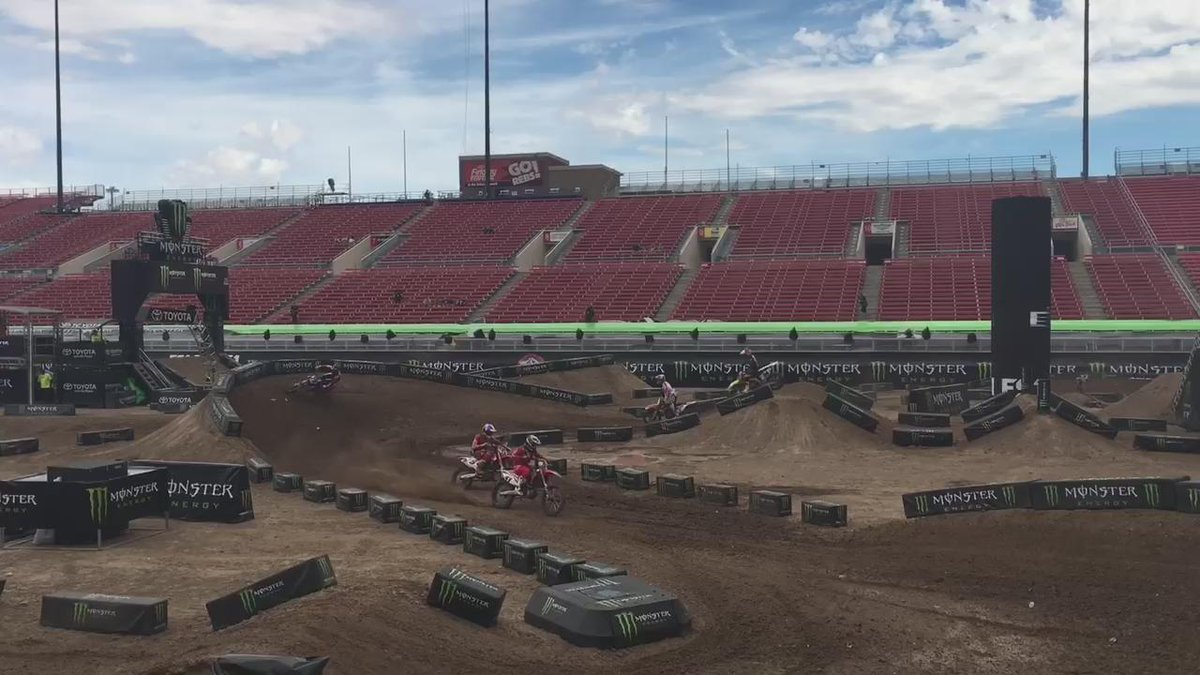Riders getting their first look at the 2015 #MonsterEnergyCup track designed by @RickyCarmichael. http://t.co/gjZzv46fwu