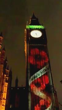 Remembrance Sunday projection from #BigBen #bigbenpoppies https://t.co/O2InLXjt0w