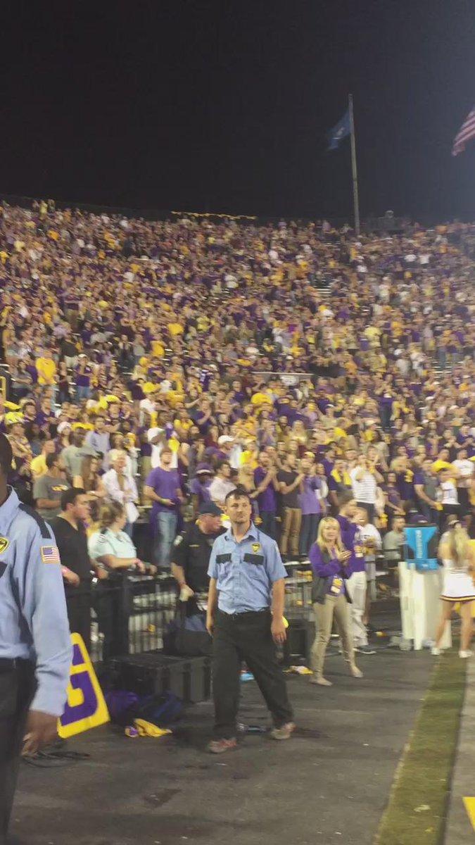 "Tiger Stadium breaks out in ""Les Miles"" chant. #TAMUvsLSU https://t.co/BRdkFNYzys"