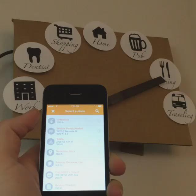 """Just made a """"clock"""" that moves its hand to show where you're checked in to on @swarmapp! https://t.co/GDOC5qYhZo"""