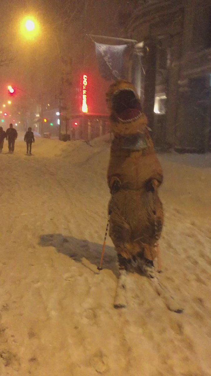 Video of the beloved dinosaur of #snowmaggedon2016 #NYC https://t.co/pyakBCNxFV