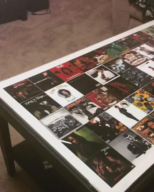 Decided to make my coffee table into a collage of some classic Hip-Hop & R&B albums. #iUsedtoLoveHer #HipHop 🎤💽👌🏾