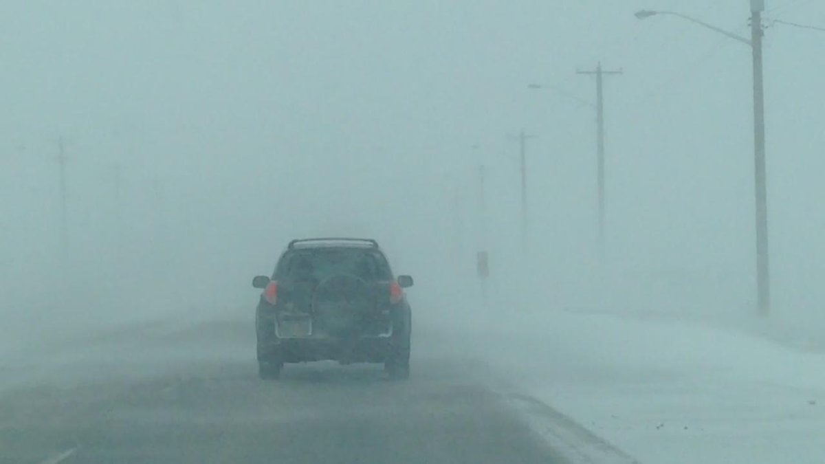 Blowing snow pretty bad on Highway 1 heading west. ctvwpg MBstorm