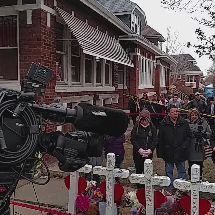 Prayers said outside gage park home where 6 members of the same family were killed last week. @WGNNews