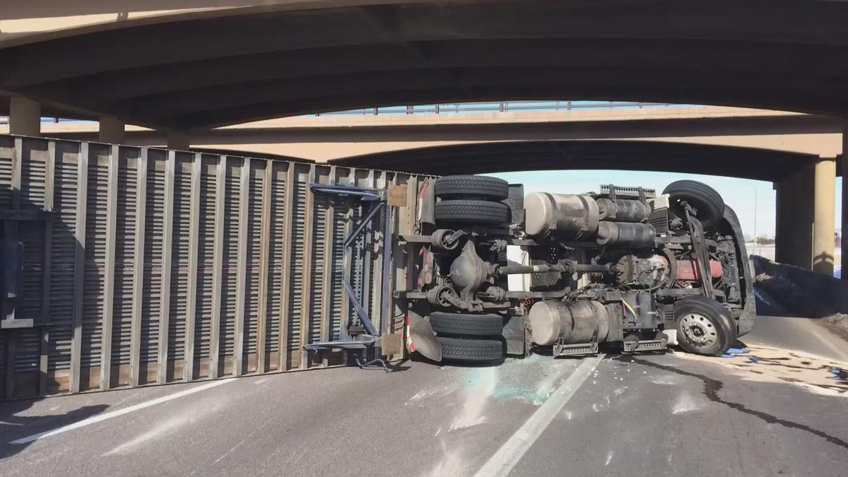 I-25 NB at HWY 34 (Loveland) is closed for a semi that has rolled over. All lanes are blocked!