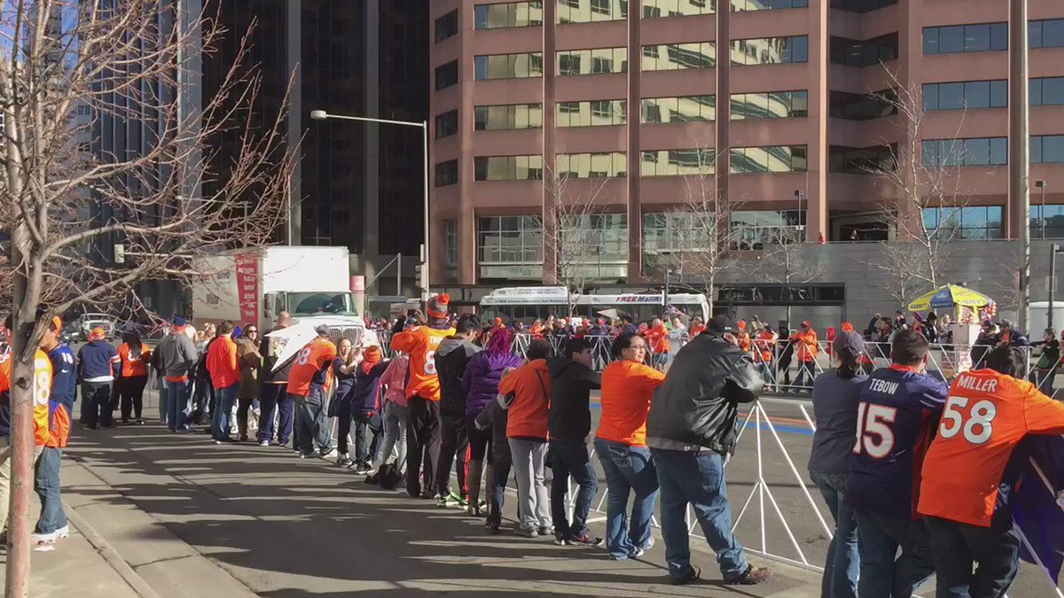 Fans pack downtown Denver for theBroncosParade!Watch the celebration starting at 10am