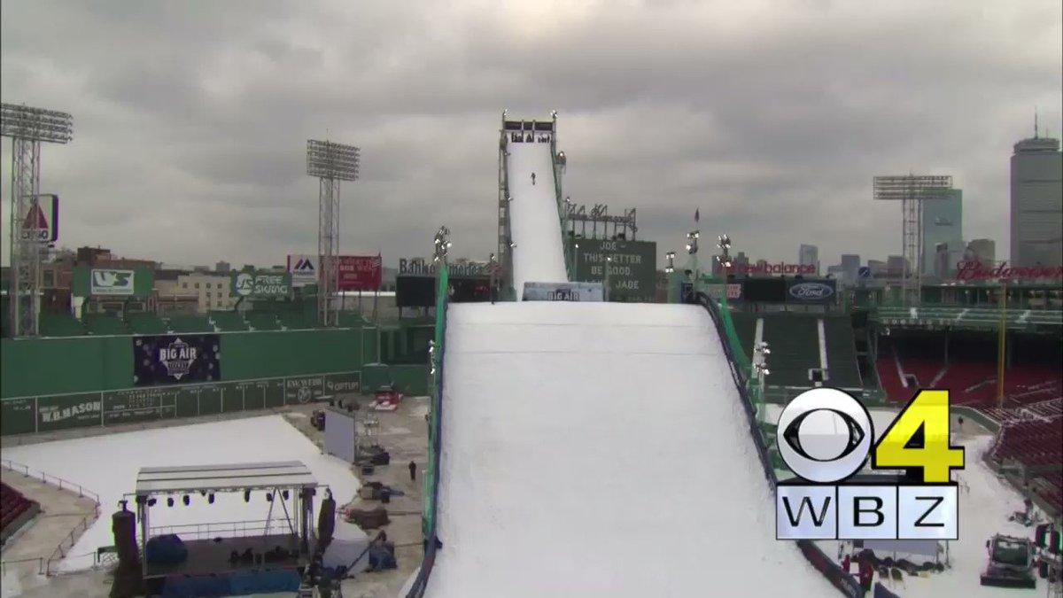 Snowboard practice runs for Big Air at Fenway RedSox WBZ