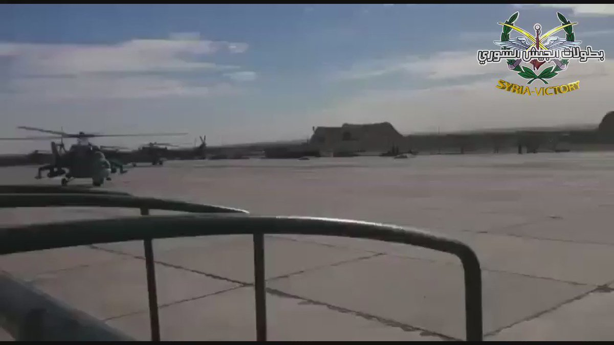 Russian Mi-24s taking off from Shayrat airbase, Homs