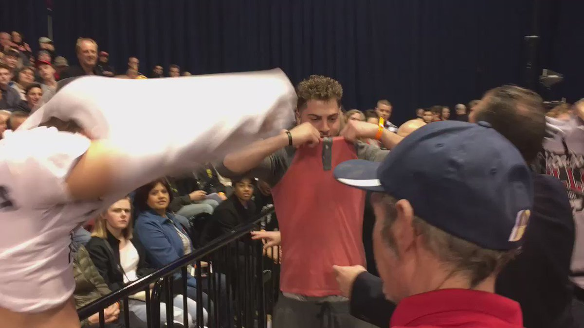 """When the 3 students wearing """"Muslims United Against Trump"""" shirts got booted, things got real ugly. #TrumpRally https://t.co/UpQ4NsUAc2"""