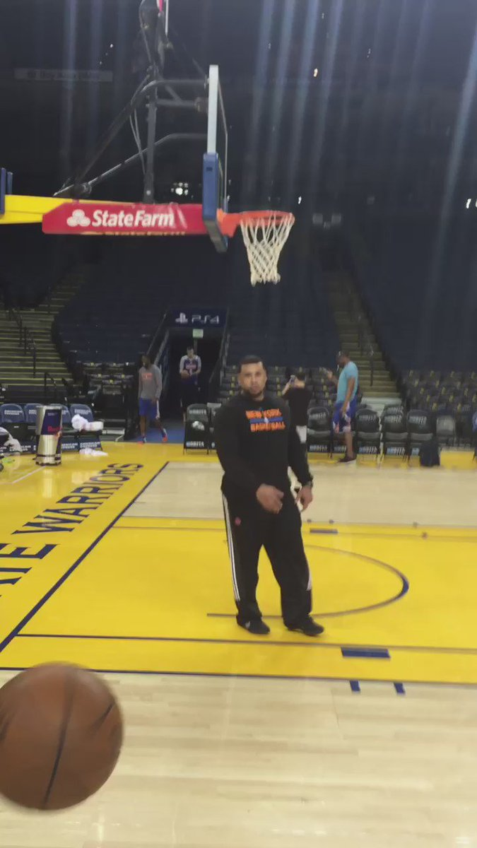 Kristaps Porzingis buries a shot from the Oracle tunnel like he's Steph Curry