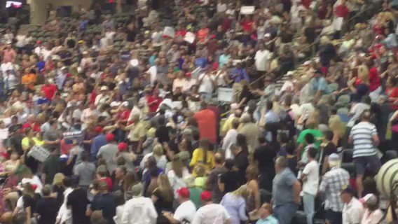 Someone kicking a protestor at the @realDonaldTrump rally in #Tucson Video by @caitlincschmidt