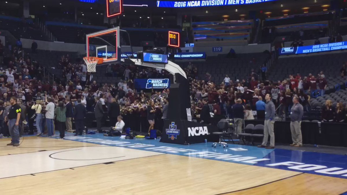 Video: Ecstatic Aggies and the Aggie War Hymn following 2OT win over Northern Iowa: https://t.co/UmqPBq3VNX