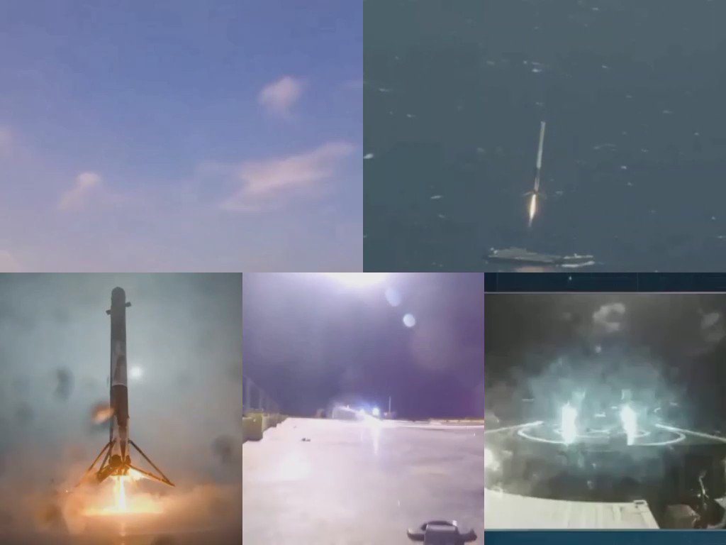 Here are all the 5 barge landings of the first stage of the Falcon 9 rocket @SpaceX @ElonMusk! #SpaceX #Falcon9 https://t.co/a3qsNfdQvm