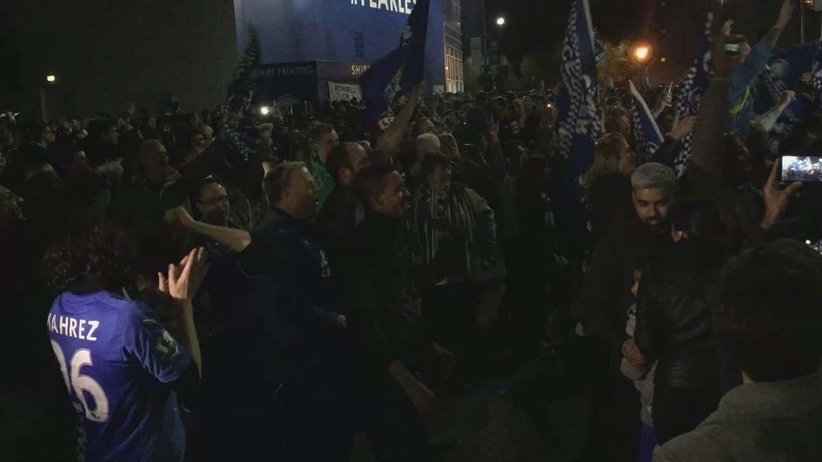 Amazing scenes at the King Power Stadium #LCFCChampions #havingaparty https://t.co/C06TXKb7iL