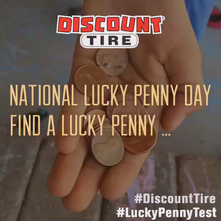 Win 10,000 pennies on an Amazon gift card! 1.See a penny 2.Take a pic 3.SHARE using #DiscountTire & #LuckyPennyTest https://t.co/EQIWrZ9Oa8