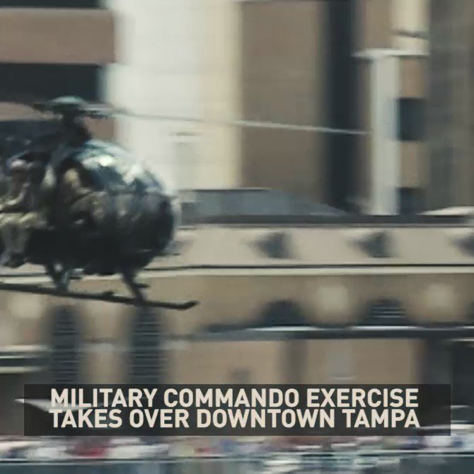 Military commando exercise rocks downtown Tampa