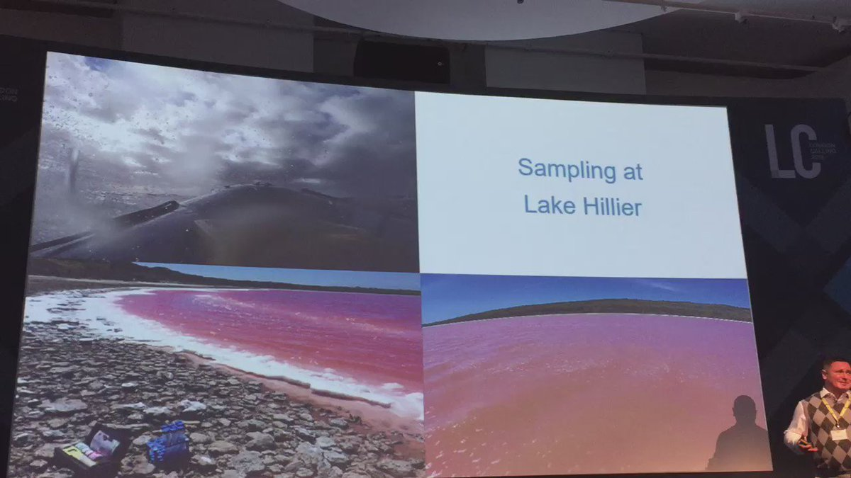Seamless integration of video into Ken McGrath's slide on Lake Hillier microbiome investigation. Kudos #nanoporeconf https://t.co/5dGxN0hMC9