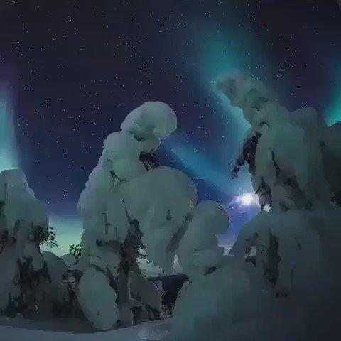 Finlandiya'da kuzey ışıkları. Muhteşem.....