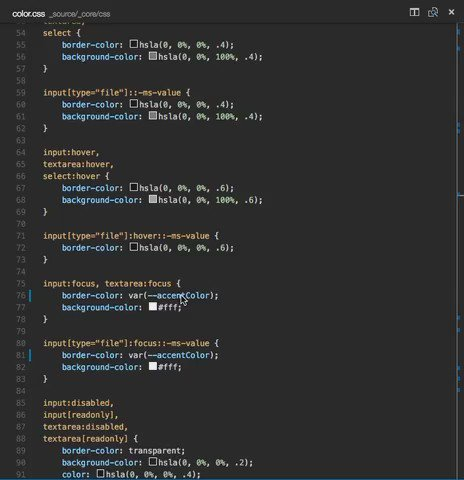The CSS variables support in VS @code is awesome. https://t.co/MDjA3dty1Y