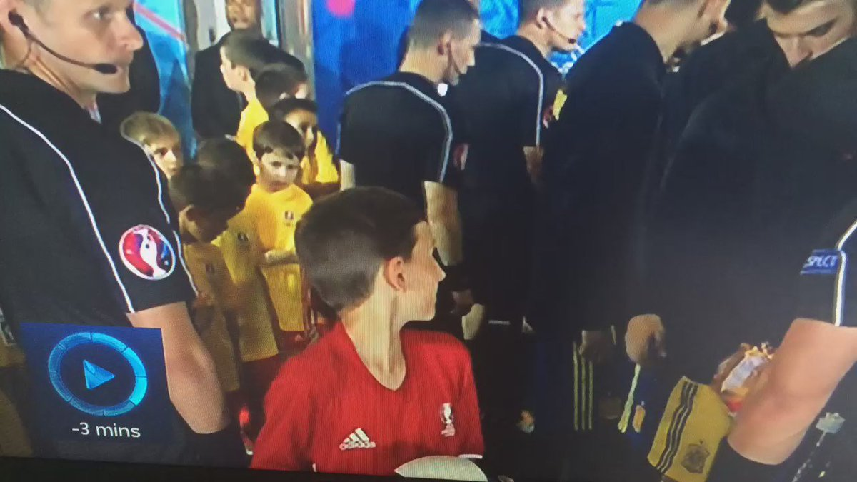 One of my favourite moments of #Euro2016 so far. Check out the mascot's reaction to his #ESP idols... @UEFAEURO https://t.co/K94Ue0uNia