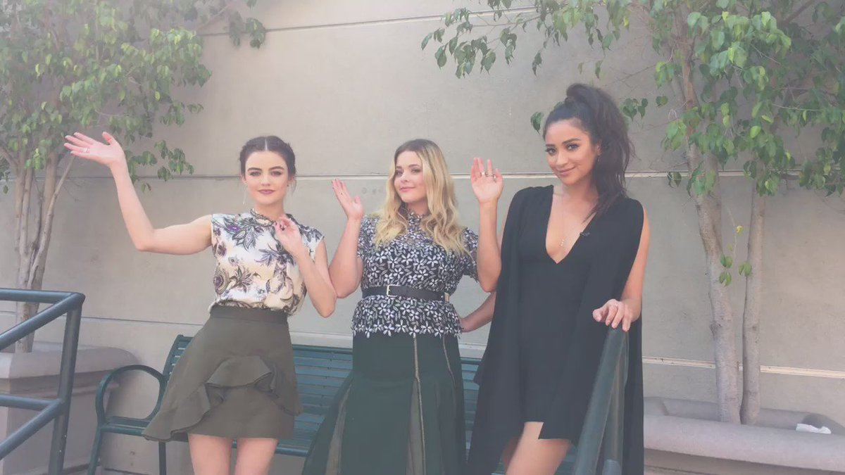 Had the best time with these beauties today! Be sure to watch #PLL tonight! @lucyhale @SashaaPieterse @shaymitch https://t.co/Liz4SIxwXg